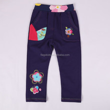 2-6Y(K711#NAVY)Children trousers Ready to ship cotton flower kids fleece pants