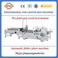 Small carton box making machine /Automatic Pre-fold and crash lock bottom folder gluer