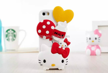 trade price leather lovely hello kitty phone case with plastic packing