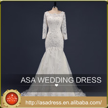 ASA-13 Real Design Hand Made Lace Applqiued Bridal Gowns 2015 Tulle Long Sleeve Full Length Beaded Lace Up Women Wedding Dress