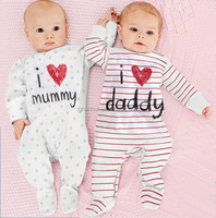 baby rompers 2015 Newborn I love mummy & daddy Baby Costume Girls Boy Jumpsuit clothing Winter Romper Body BABY CLOTHES Bebes