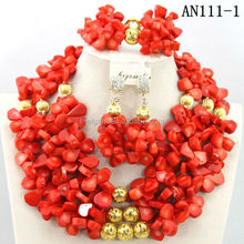 Wholesale african jewelry sets coral Wedding Jewelry Set latest nigeira jewelry beads design for wedding