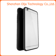 tpu frame+transparent hard pc back cover case for iphone 6,for iphone 6 ultra thin phone case