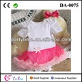 pura branca e top redtulle laço rosa criança saia vestido bonito