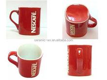 Red square nestle mug , ceramic coffee cup , promotional nestle mug