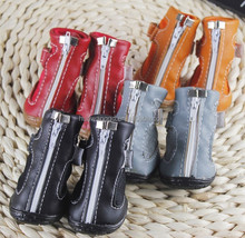 High-quality black leather dog boots, rain boots for dogs, waterproof dog winter boots, pet product