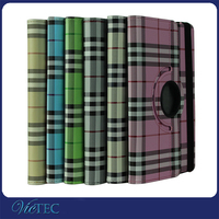 Hot selling 360 degree rotate plaid grain tablet protective case for ipad mini 2