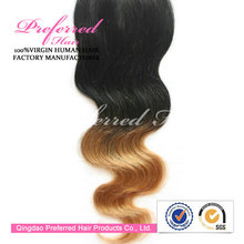 100% Virgin Remy Hair Two Tone Color Virgin Hair Body Wave Extensions/Wefts Accept Paypal Payment