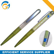 Customized Logo crystal Ball Pen with Metal Clip #Green Color
