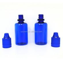 2015 China Supplier Empty Plastic Bottle for Eliquid Hot PET Blue 30ml E-vapor Stopper Bottle 10ml 20ml Eliquid Bottle for Sale