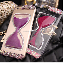 ultra slim sandglass stone jeweled phone cover for apple phone