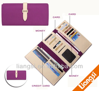 Women Long Faux Leather Bifold Large Bow Design Wallet Handbag