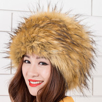 Ladies Faux Fur Russian Hat Womens Black White Grey Warm beanie Winter Hat
