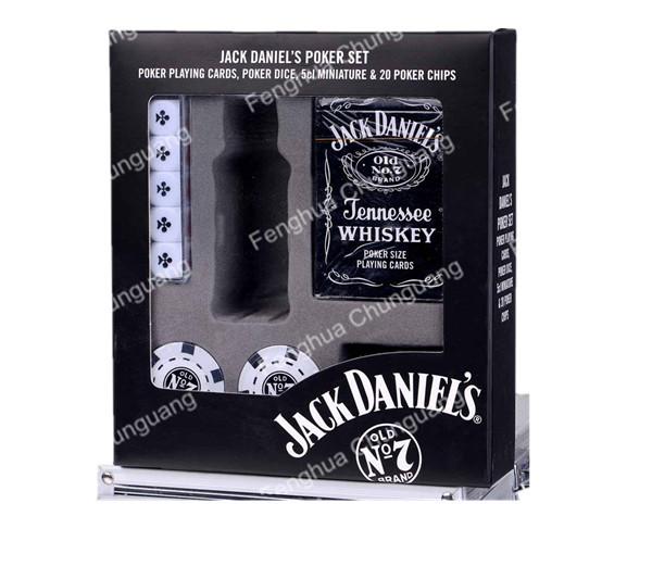 custom wholesale Jack daniels poker chip set dice set printed logo
