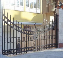 WH-15G7164 Curved shape simple design tubes structure wrought iron hotel main gate