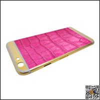fancy intermediate sticking with leather and Gold back plate housing for iPhone6G