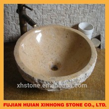 Beige natural hand carved stone basin for hot sale