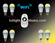 2.4G RF Wireless Remote control led bulb,iphone ipad ipod is also workable,on the conditional add one wifi controller,see below