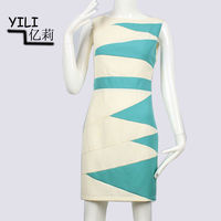Newest frock suit for girls blue white striped open back bandage dress