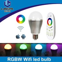 Langma Newest 9W E27 Dimmable Wifi Led Bulb RGBW RGB+Warm white lamp+milight 2.4G wifi controller adapter