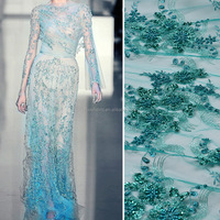 Top quality green embroidery french lace with nice sequence/bead for wedding dress hand beaded embroidery lace FB0006