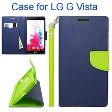 New Products Two-Tone Color Wallet Style Flip Stand PU Leather Phone Case Cover for LG G Vista