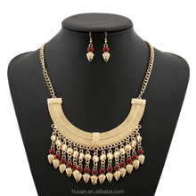 Foreign trade fashion long Luxury coin tassel exaggerated gem necklace chain ossicular chain set