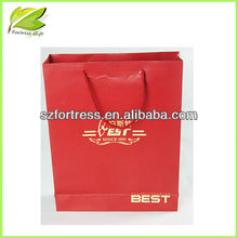 Promotional red color cotton handle paper shopping bag
