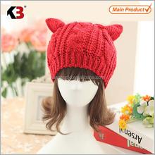 2015 promocional de malha orelha de gato gorro orelha de gato gorro para meninas