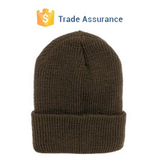 Mens Brown Worsted Wool Ribbed Knitted Hat Cap