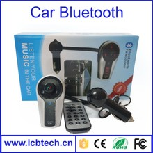 Built-in microphone Stereo + LCD display + FM Transmitter Solar bluetooth portable handsfree car kit with Caller ID