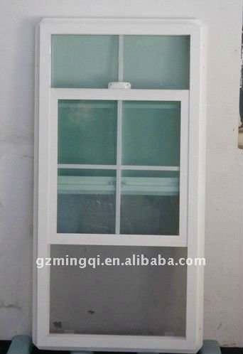 Pvc vertical sliding windows with grill design view for Vertical sliding window design