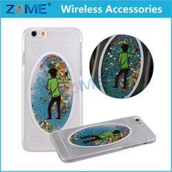 Mobile Phone Case Transparent Plastic 3D Glitter Quicksand Man Hearts Liquid Case For Iphone 6