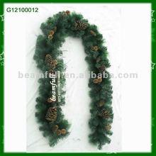 cono de pino Guirnalda verde PVC del árbol de Navidad