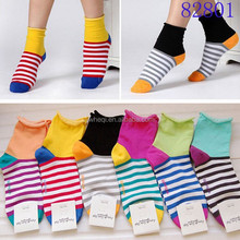 wholesale professional manufacturer South Korean magazine model sweet candy color stripe rim short sock