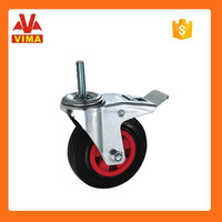 160mm industrial black rubber castor with brake, thread stem caster and wheel