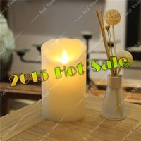 Moving Wick Mirage Flameless Unscented Wax Pillar Candle festival decoration with Auto Timer function