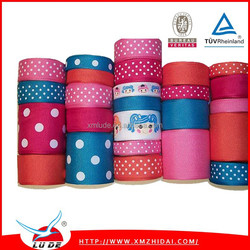 2015 Wholssale Polyester colour dot printed satin ribbon/Solid Color With Dots Printed Grosgrain Ribbon