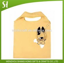 Brown polyester shopping bag /custom foldable handle shopping bags with loyal dog