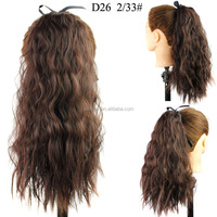 Long curly weave synthetic drawstring ponytail hair extension ,heat resistant clip in ponytail