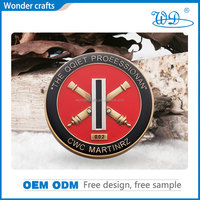 Memorial custom souvenir OEM design stainless steel shiny gold plating pad printing plastic package marine corps challenge coin
