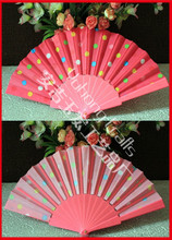 Plastic hand fan Dot design wholesale