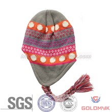 Winter acrylic knitted beanie hat with earflap