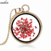 Gold Thin Chain Red Natural Coral Flower Pendant Necklace Female