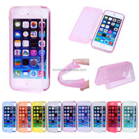 High Quality Soft TPU Silicon Transparent Flip Cover Case For iPhone 5 5s