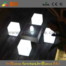 RGB rechargeable led cube chair stool light lamp remote plastic furniture cube ottoman