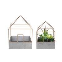 Garden decor cheap cement planter decorative geometric wire rack concrete flower pot molds