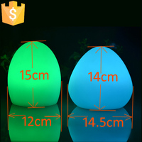 12*15cm PE Led lamp table light for nightclub/coffee shop/with remote controller and adaptor RGB color led egg light lamp