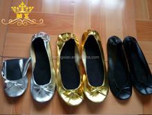 Hot sale flat foldable ballet dance shoes rollable ballet flats flexible