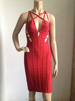 latest dress designs women party dress Sexy deep v neck red color bodycon evening dresses
